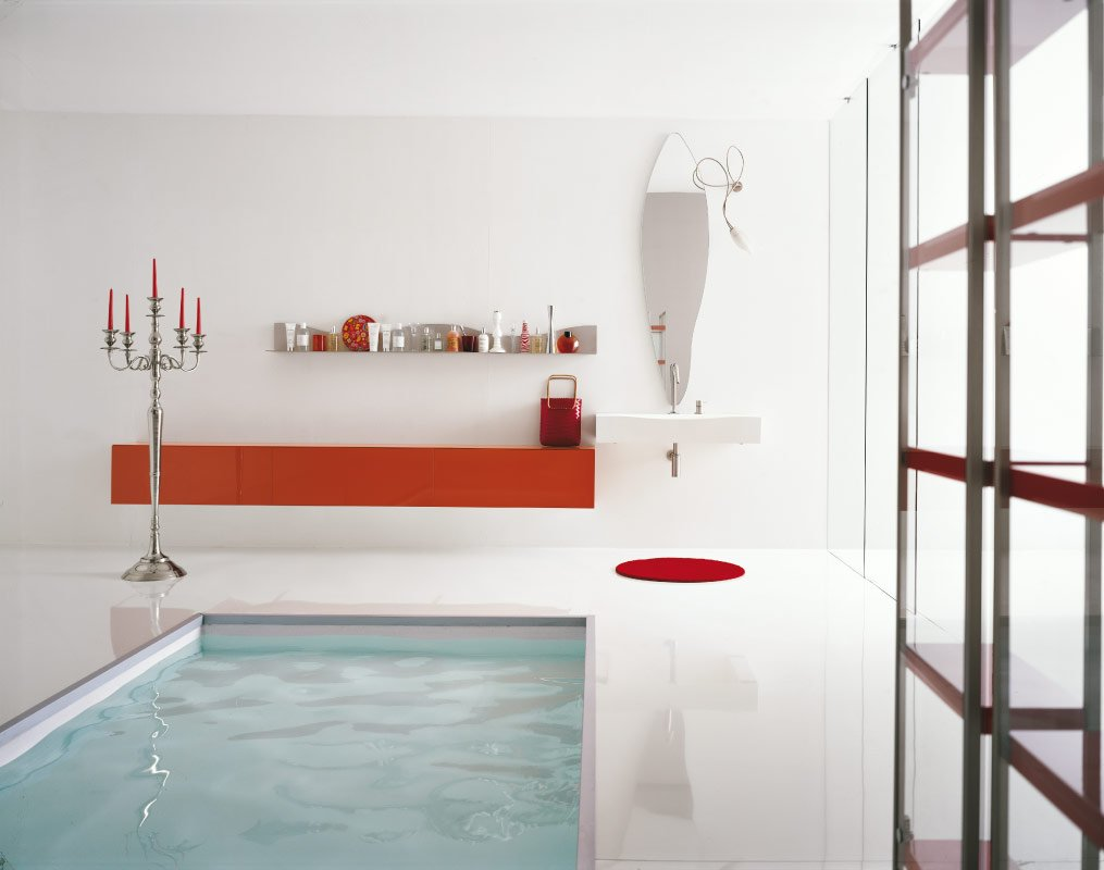 Minimalist White Bathroom With Pool Inside
