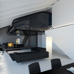 Attic living office design.