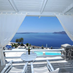 Terrace design in Santorini.