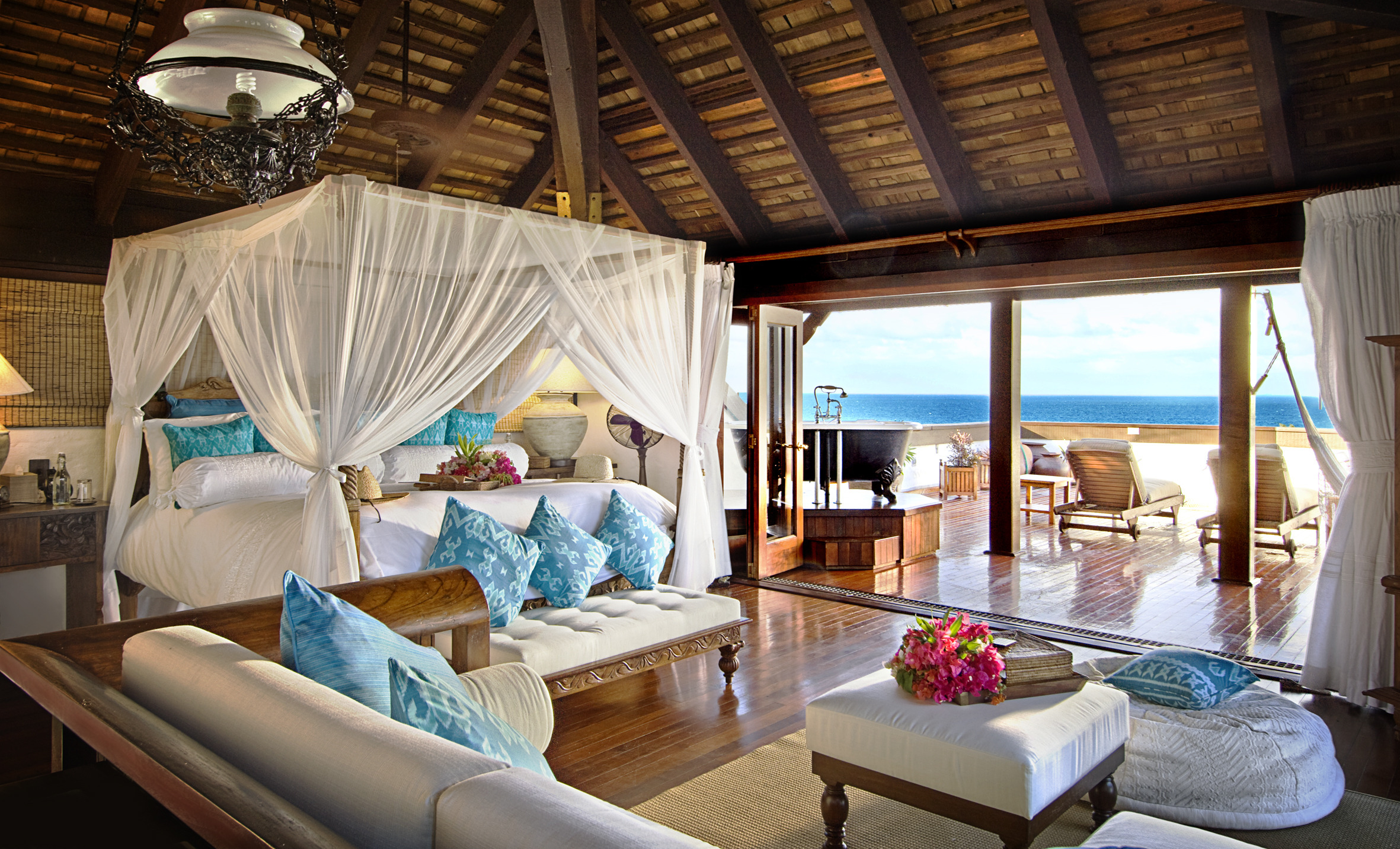 Tropical Bedroom With Bath Tub On The Terrace Myhouseidea
