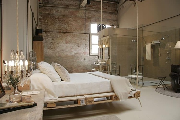 Bedroom with hanging bed