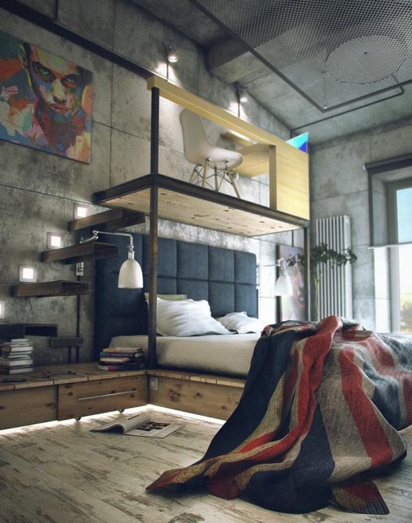Bedroom with mezzanine office