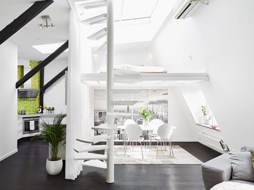 Scandinavian loft with unique floor plan myhouseidea for Decoracion duplex escaleras